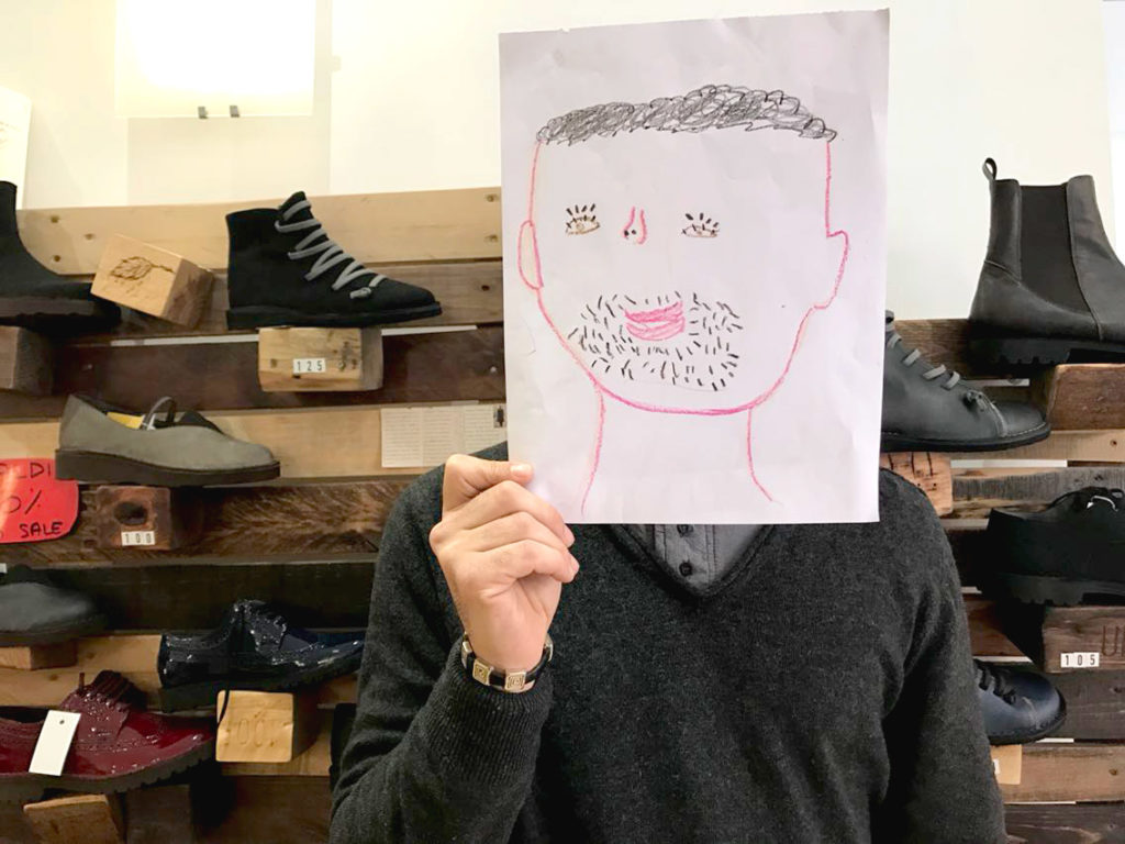 Ritratto illustrato di Giansimone, fondatore del bio vegan shop Eco&Gea