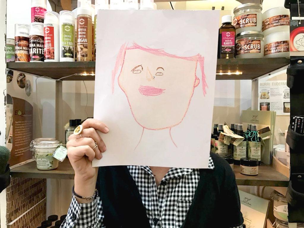 Ritratto illustrato di Stefania, fondatrice del bio vegan shop Eco&Gea