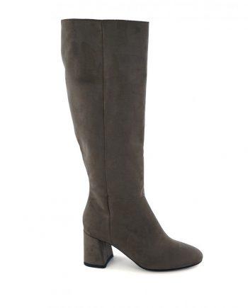 Scarpe-donna-stivale-tubolare-elasticizzato-sopra-al-ginocchio-in-tessuto-con-punta-tonda-e-zip-laterale-beige-laterale