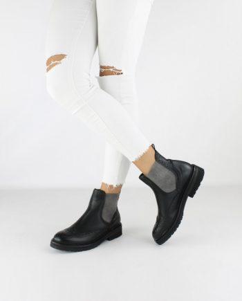 Scarpe-donna-stile-inglese-impermeabile-con-calzata-elastica-senza-lacci-colore-nero-figura-intera