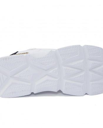 Sneakers-donna-con-lacci-in-cotone-Colore-bianco-dettagli-nero-oro-sotto