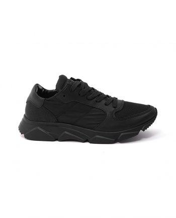 Sneakers-donna-con-lacci-in-cotone-Colore-nero