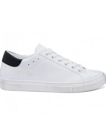 Sneakers-uomo-impermeabile-con-lacci-in-cotone-colore-bianco-dettaglio-nero-immagine-laterale