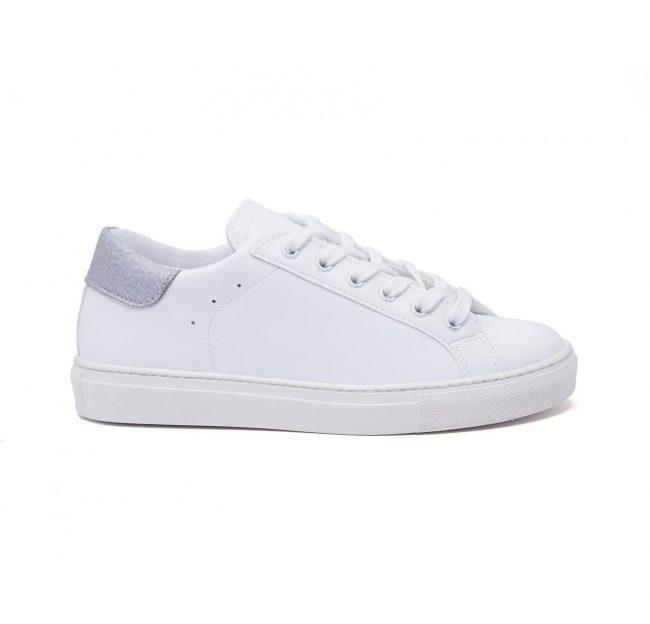 Sneakers-donna-impermeabile-con-lacci-in-cotone-colore-bianco-laterale