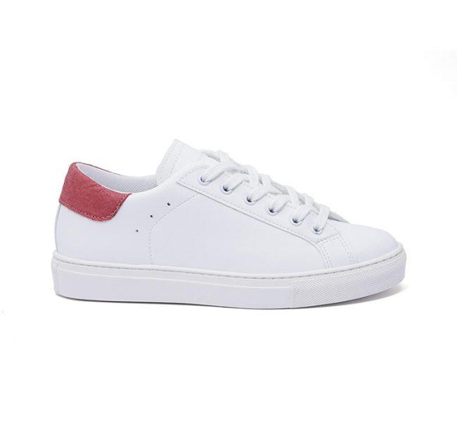 Sneakers-donna-impermeabile-con-lacci-in-cotone-colore-bianco-dettaglio-rosa-laterale