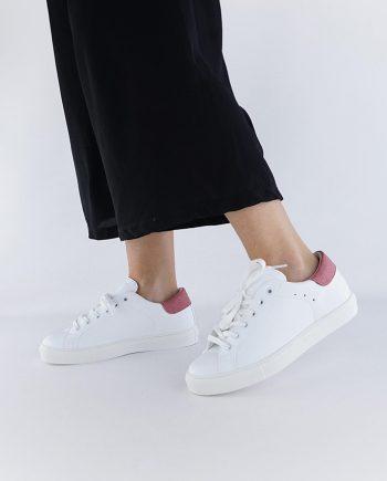 Sneakers-donna-impermeabile-con-lacci-in-cotone-colore-bianco-dettaglio-rosa-figura-intera