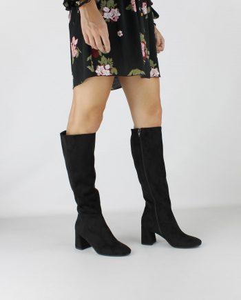 Scarpe-donna-stivale-tubolare-elasticizzato-sopra-al-ginocchio-in-tessuto-con-punta-tonda-e-zip-laterale-colore-Nero