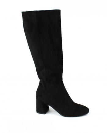 Scarpe-donna-stivale-tubolare-elasticizzato-sopra-al-ginocchio-in-tessuto-con-punta-tonda-e-zip-laterale-colore-Nero-laterale