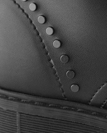Scarpe-donna-anfibio-scarponcino-6-occhielli-impermeabile-con-lacci-e-borchie-tacco