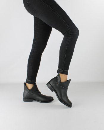 Scarpe-Donna-Stivaletti-Modello-impermeabile-con-taglio-a-V-Colore-Nero