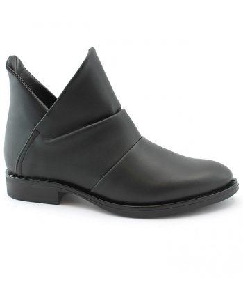 Scarpe-Donna-Stivaletti-Modello-impermeabile-taglio-a-V-Nero
