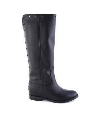 Stivali-vegane-donna-al ginocchio-con-scollo-a-V-dettagli-borchie-squadrate-color-canna-di-fucile-sul-gambale-punta-tonda-con-zeppa-interna-Colore-nero