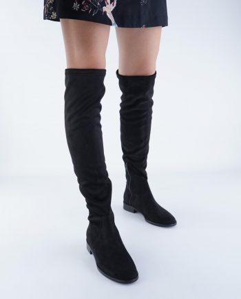 Scarpe-donna-stivale-tubolare-elasticizzato-sopra-al-ginocchio-in-tessuto-con-punta-tonda-e-zip-nero