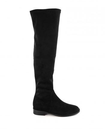 Scarpe-donna-stivale-tubolare-elasticizzato-sopra-al-ginocchio-in-tessuto-con-punta-tonda-e-zip-nero-laterale