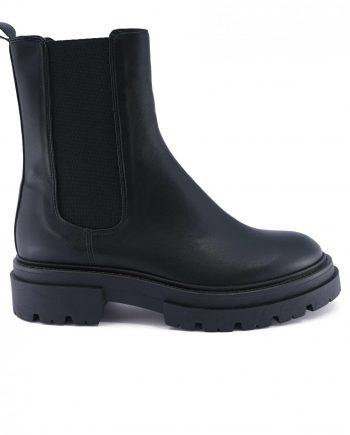 Scarpe-donna-stivaletti-impermeabile-a-punta-tonda-con-calzata-elastica-senza-lacci-colore-nero