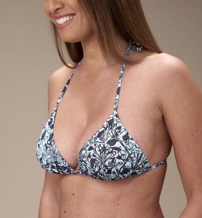 Top triangolo con coppa eco bikini-fiori-fronte