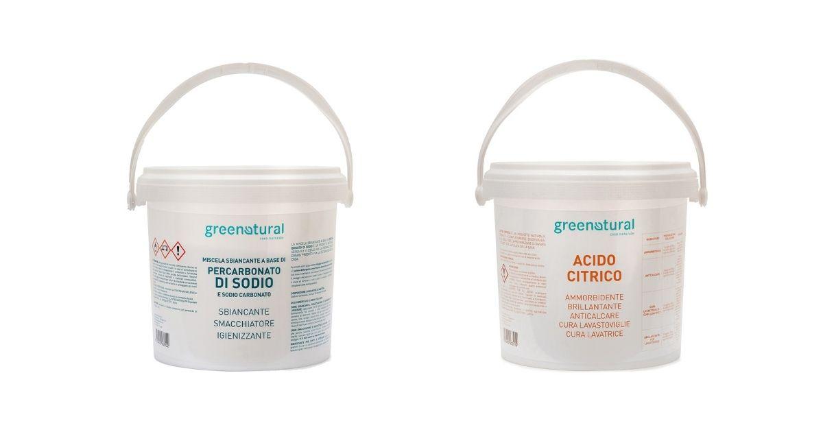 percarbonato di sodio e acido citrico per lavare i tessuti naturali